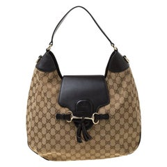 Gucci Beige/Ebony GG Canvas and Leather Emily Chain Hobo