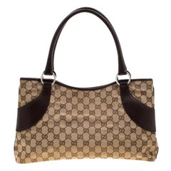 Gucci Beige/Ebony GG Canvas and Leather Jacquard Tote