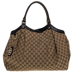 Gucci Beige/Ebony GG Canvas and Leather Large Sukey Tote