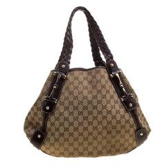 Gucci Beige/Ebony GG Canvas and Leather Medium Pelham Hobo
