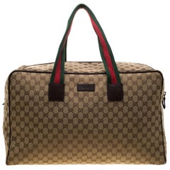 a8fb0f45eb27d Iconic Gucci Suitcase Coated Canvas GG Logo Leather Soft Luggage ...