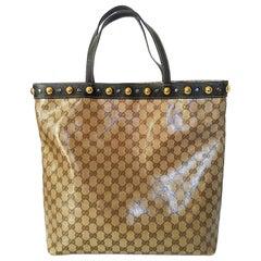 Gucci Beige/Ebony GG Crystal Babouska Studded Tote