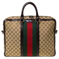 Gucci Beige/Ebony GG Monogram Web Canvas and Leather Briefcase