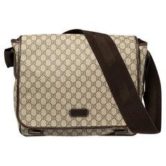 Gucci Beige/Ebony GG Supreme Canvas and Leather Messenger Diaper Bag
