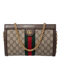 Gucci Beige/Ebony GG Supreme Canvas and Leather Small Ophidia Shoulder Bag