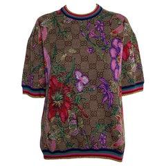 Gucci Beige Floral Jacquard Lurex Knit Logo Monogram Short Sleeve Sweater M
