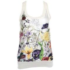 Gucci Beige Floral Printed Silk Rib Trim Sleeveless Top XS