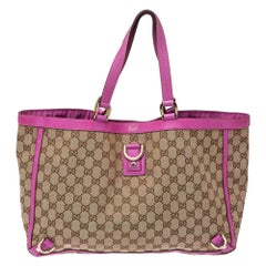 Gucci Beige/Fuchsia GG Canvas and Leather Abbey D-Ring Tote