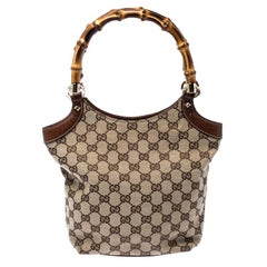 Gucci Beige GG Canvas and Leather Bamboo Handle Satchel