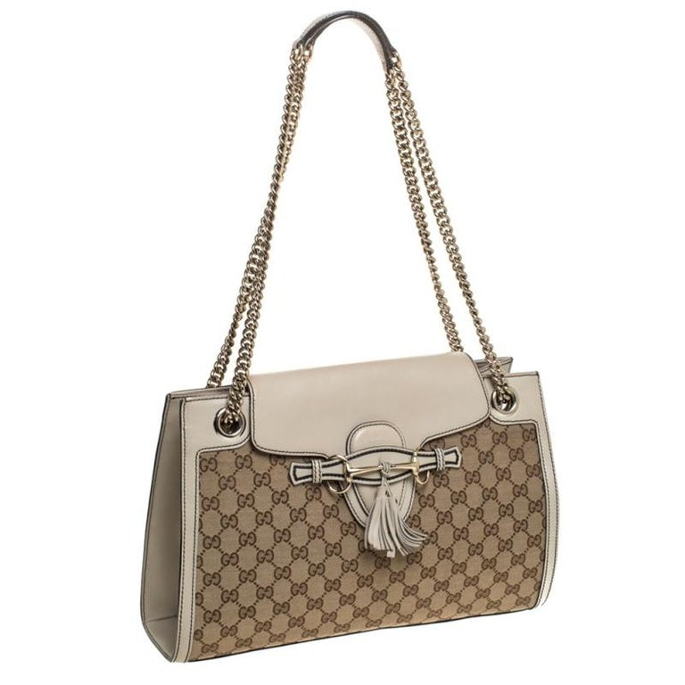 Women's Gucci Beige GG Canvas and Leather Large Emily Chain Shoulder Bag For Sale