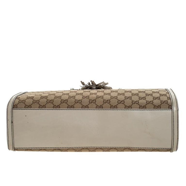 Gucci Beige GG Canvas and Leather Large Emily Chain Shoulder Bag For Sale 1