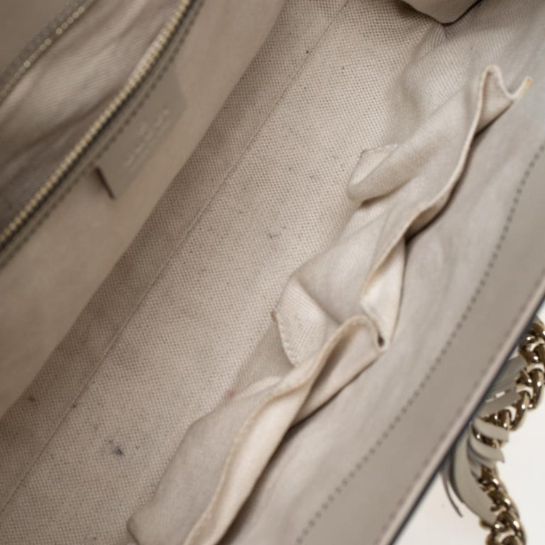 Gucci Beige GG Canvas and Leather Large Emily Chain Shoulder Bag For Sale 2