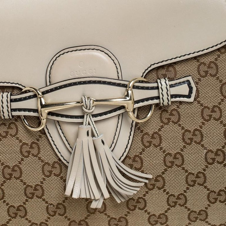 Gucci Beige GG Canvas and Leather Large Emily Chain Shoulder Bag For Sale 3