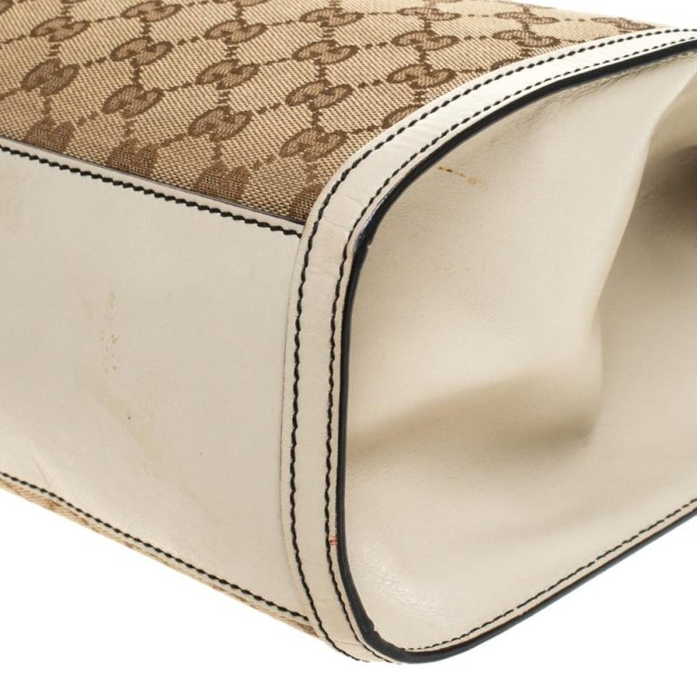 Gucci Beige GG Canvas and Leather Large Emily Chain Shoulder Bag For Sale 5