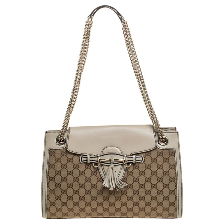 Gucci Beige GG Canvas and Leather Large Emily Chain Shoulder Bag For Sale