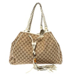 Gucci Beige GG Canvas and Leather Large Preggy Braided Bamboo Tassel Tote