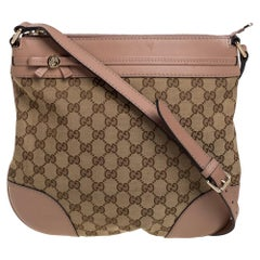 Gucci Beige GG Canvas and Leather Mayfair Bow Crossbody Bag
