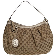 Gucci Beige GG Canvas and Leather Medium Sukey Hobo