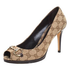 Gucci Beige GG Canvas And Leather New Hollywood Horsebit Peep Toe Pumps Size 39