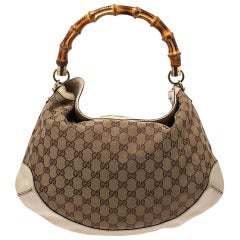 Gucci Beige GG Canvas and Leather Peggy Bamboo Hobo