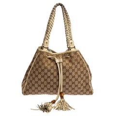 Gucci Beige GG Canvas and Leather Preggy Braided Bamboo Tassel Tote