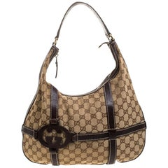 Gucci Beige GG Canvas and Leather Royal Hobo