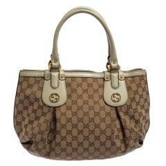 Gucci Beige GG Canvas and Leather Small Interlocking G Scarlett Tote