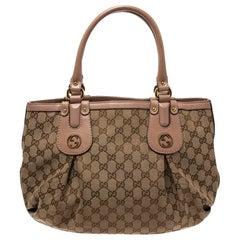 Gucci Beige GG Canvas and Leather Small Scarlett Interlocking G Tote