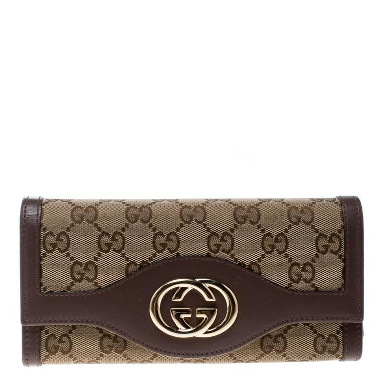 8964edd9f49 Gucci Beige Gg Canvas And Leather Sukey Continental Wallet