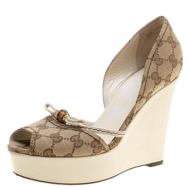 89b579fa5 Gucci Beige GG Canvas Bamboo Peep Toe D orsay Wedge Sandals Size 37.5 For  Sale