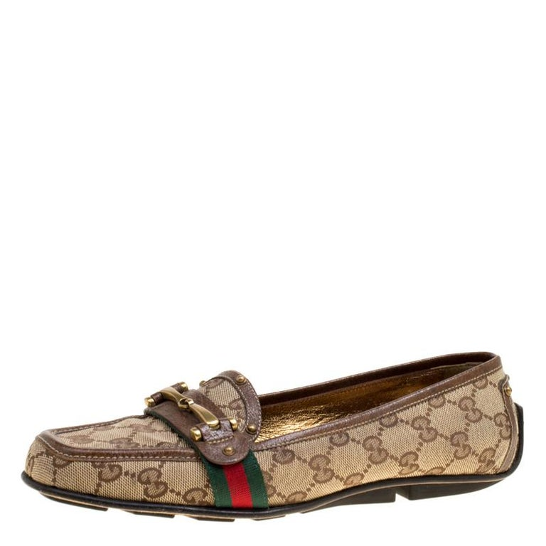 537f3921d7a Gucci Beige GG Canvas Horsebit Loafers Size 38.5 at 1stdibs