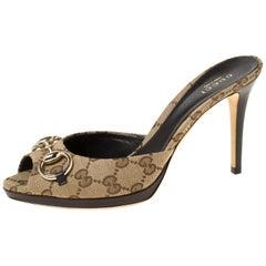 Gucci Beige GG Canvas Horsebit Slide Sandals Size 38