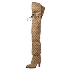 Gucci Beige GG Canvas Lisa Thigh High Boots Size 36