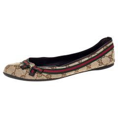 Gucci Beige GG Canvas Mayfair Web Bow Detail Ballet Flats Size 37.5