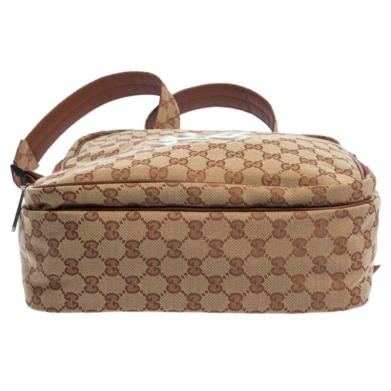 Gucci Beige GG Canvas Medium NY Yankees Backpack For Sale 1