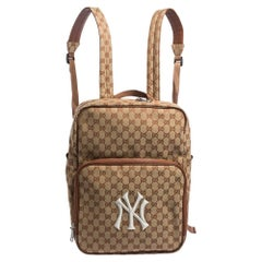 Gucci Beige GG Canvas Medium NY Yankees Backpack