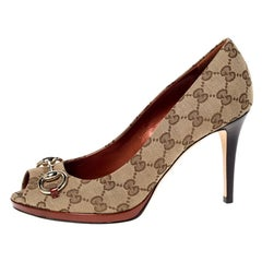Gucci Beige GG Canvas New Hollywood Horsebit Peep Toe Pumps Size 39