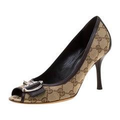 Gucci Beige GG Canvas Peep Toe Pumps Size 37.5