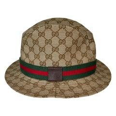 Gucci Beige GG Monogram Canvas Web Fedora Hat (Medium)