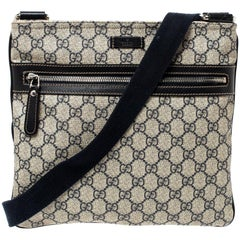 Gucci Beige GG Supreme Canvas and Leather Crossbody Bag