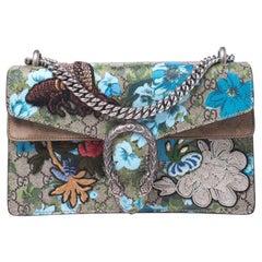 Gucci Beige GG Supreme Canvas Embroidered Small Dionysus Shoulder Bag