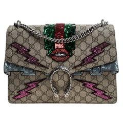 Gucci Beige GG Supreme Canvas Medium Crystal Embellished Dionysus Shoulder Bag