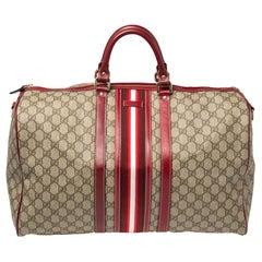 Gucci Beige GG Supreme Canvas Web Carry-on Medium Duffle Bag