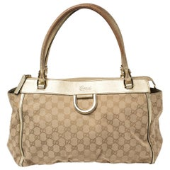 Gucci Beige/Gold GG Canvas and Leather Abbey D-Ring Satchel