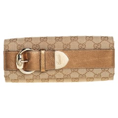 Gucci Beige/Gold GG Canvas and Leather Continental Wallet