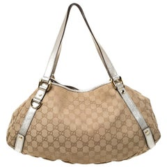 Gucci Beige/Gold GG Canvas and Leather Medium Abbey Shoulder Bag