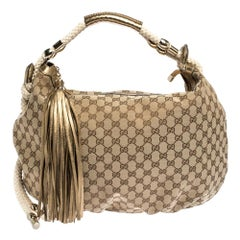 Gucci Beige/Gold GG Canvas and Leather Medium Acapulco Hobo