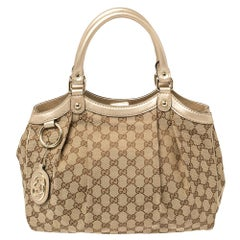 Gucci Beige/Gold GG Canvas and Leather Medium Sukey Tote