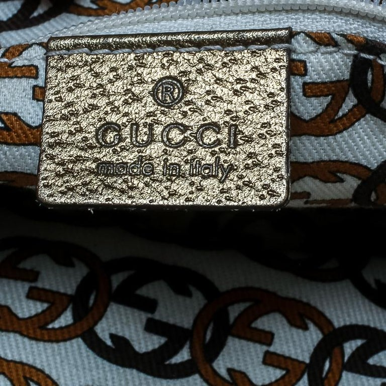 Gucci Beige/Gold GG Canvas and Leather Princy Boston Bag For Sale 6