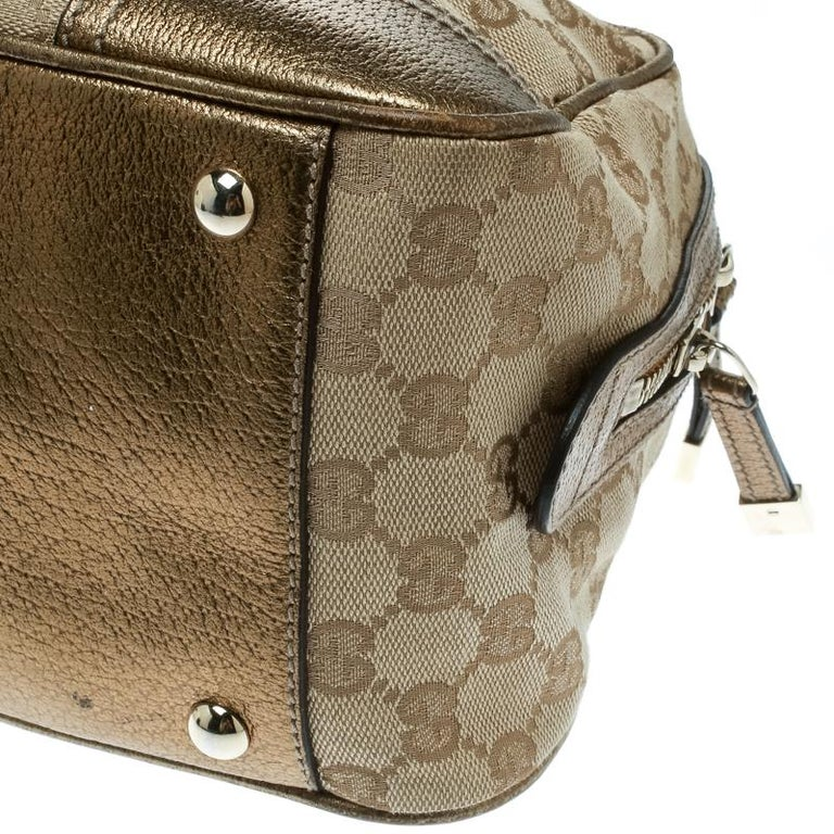 Gucci Beige/Gold GG Canvas and Leather Princy Boston Bag For Sale 7
